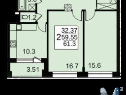 Продам двухкомнатную квартиру в новостройке 60.2 м2 город Москва, улица Автозаводская, 23